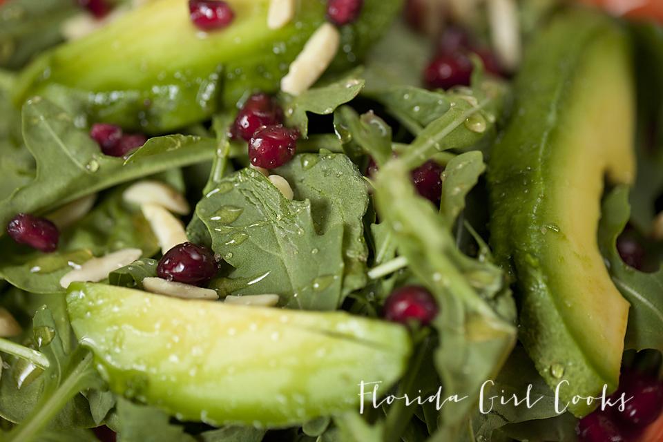 summer pommegranate arugula salad, salad, summer, summer salad, healthy, organic, homemade