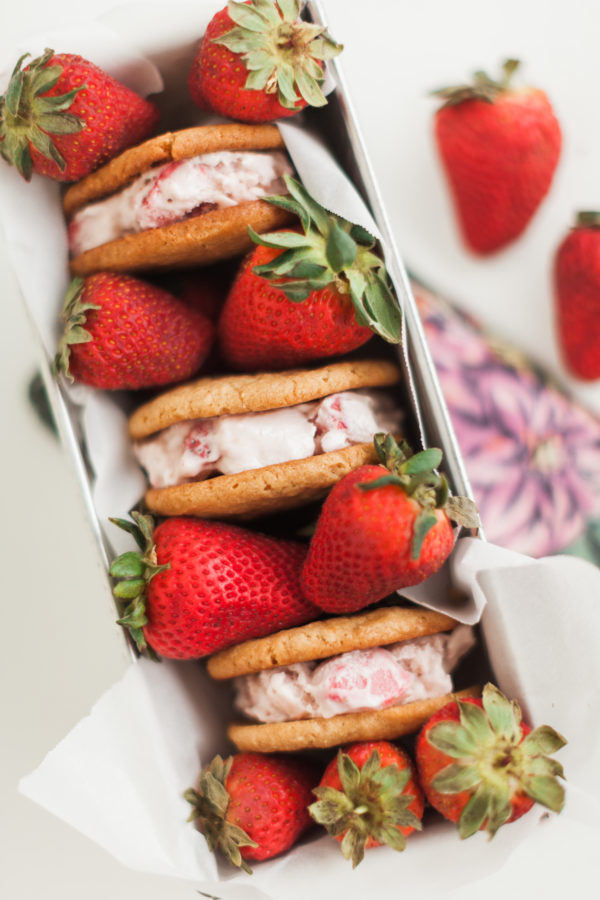 strawberry ice cream sandwiches, strawberry ice cream, peanut butter cookies, ice cream sandwiches, frozen treats, ice cream, summer treats, florida girl cooks
