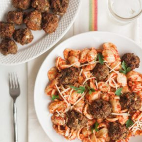 air fried meatballs and orechiette pasta with marinara sauce, pasta dish, air frying, breville, breville smart air pro, easy weeknight meal, marinara, orechiette, florida girl cooks