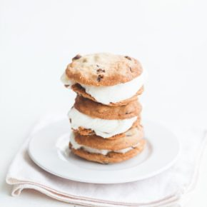 chocolate chip cookies and sweet milk ice cream, homemade ice cream, ice cream sandwiches, freshly baked cookies, florida girl cooks