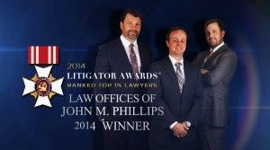 John Phillips 2014 Litigator Award Postcard