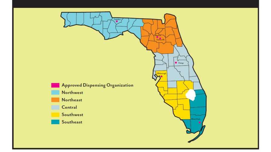 Compassionate Medical Cannabis Act dispensing regions in Florida