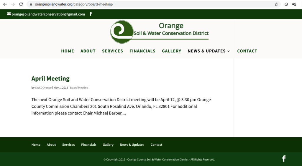 On the Orange Soil & Water Conservation District website, orangesoilandwater.org, this public announcement of the April 2019 meeting was in fact posted May 1, 2019.