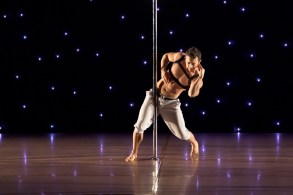 """Brandon started seriously training in pole 8 years ago. His first competition was at the Pole Expo in Las Vegas, and he won his first title in 2012 as the American Pole Fitness Male Champion. In 2013, Brandon won the """"Most Artistic"""" title at the FPFC and in 2014 he won the Men's Division 3rd Place & """"Most Athletic"""" at the Florida Pole Fitness Championship."""