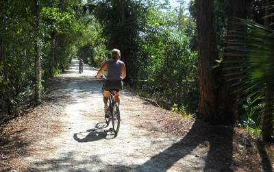 South Florida biking trails: A family biking at Riverbend park in Jupiter.