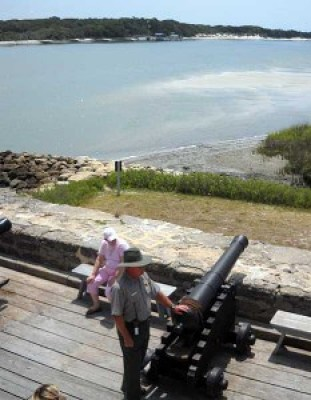 Ranger on gun deck at Fort Matanzas near St. Augustine