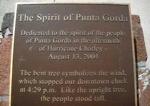 Punta Gorda Hurricane Charley monument plaque