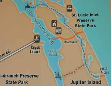Kayak trail map for St. Lucie Inlet Preserve State Park