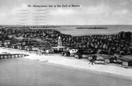Honeymoon Island, Dunedin, honeymoon cottages along beach around 1940
