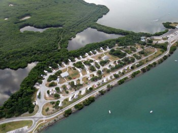 Aerial photo of campground at Sebastian Inlet State Park.