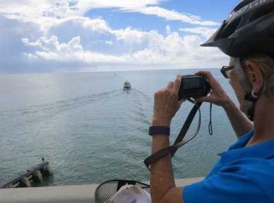 Pausing atop a bridge while biking the Florida Keys Overseas Heritage Trail in Islamorada.