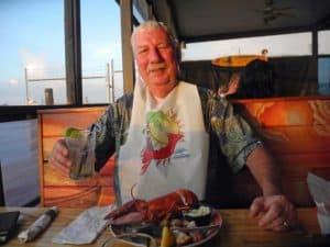 Bob Rountree enjoys lobster at the Baja