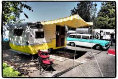 1956 Shasta Travel Trailer and 1956 Chevrolet 210 Handyman
