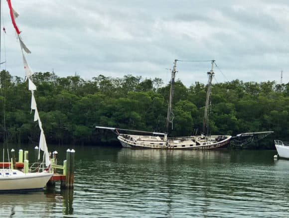 Our view included a picturesque two-masted schooner aground and slightly titled. (It's the Queen Anne's Revenge II, a boat intended for sunset cruises that never passed Coast Guard inspection.)