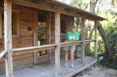 A settler's riverfront cabin at Koreshan State Park