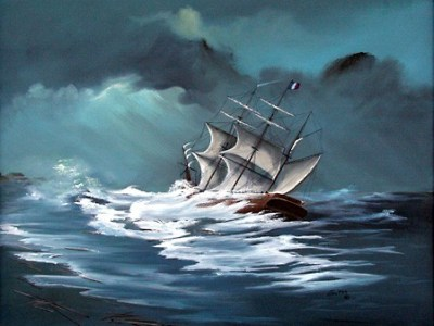 Artist's version of the sinking of the Georges Valentine in 1904. Photo courtesy disocvermartincouny.com.