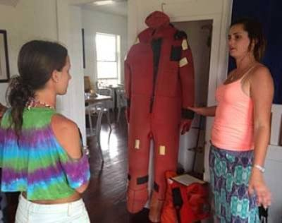 At the Palm Beach Maritime Museum on Peanut Island, you can tour the historic Coast Guard station, where the guide explains how this survival suit worked.