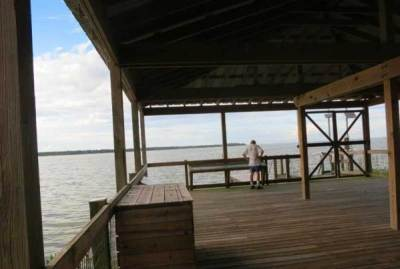 A pavilion overlooking Lake Apopka in the Oakland Nature Preserve.