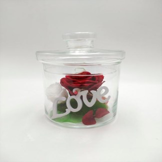 Tarro cristal con rosa etrna