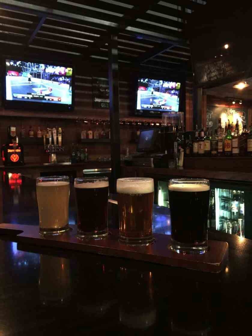 Beer Flight:  Upland (Belgium white beer), Robert The Bruce (Scottish Ale), New Holland Hoptronix (IPA), and Boulder Shake Chocolate Porter