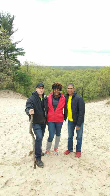 Family hiking Indiana sand dunes