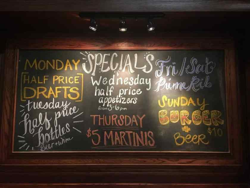 Specials for every day of the week