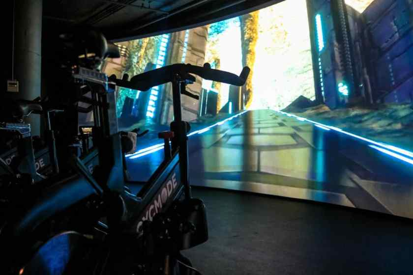 Cycmode's 40-foot wide, curved projection screen