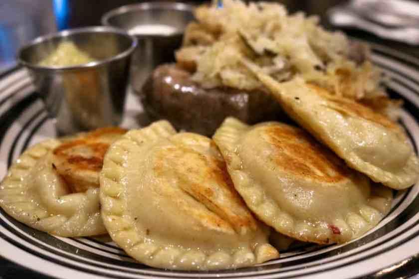 Polish Platter: Polish Sausage, Sauerkrat, Pierogis