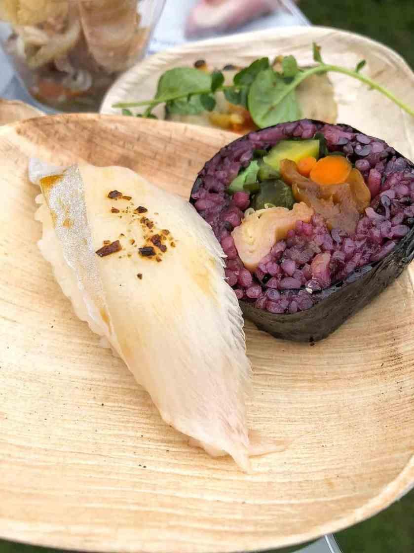 Kamehachi: Smoked Kanpachi Nigiri, Oshinko Maki