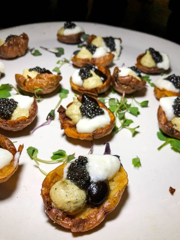 Chef Ken Biffar of Siena Tavern's Crispy Potato Skins appetizer
