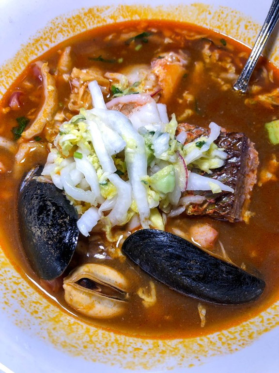 Chef Katsuji Tanabe's Pozole Rojo:  A soup filled with seafood