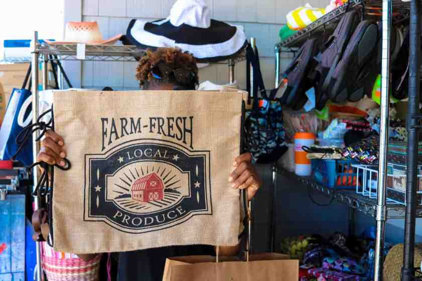 Environmentally safe shopping bag with local produce printed on the front
