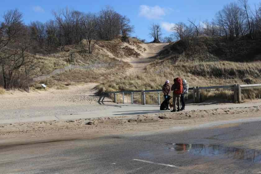 Access to sand dunes from Indiana Dunes beach