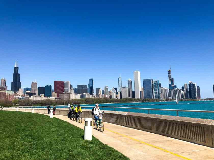 Lakefront Trail with Chicago Skyline as backdrop