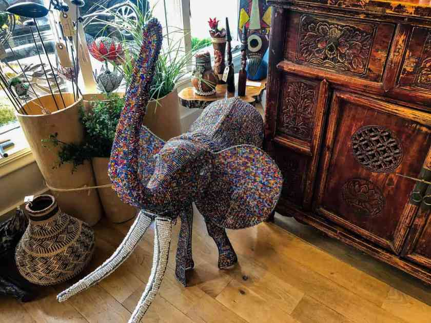 African Art displays including an elephant