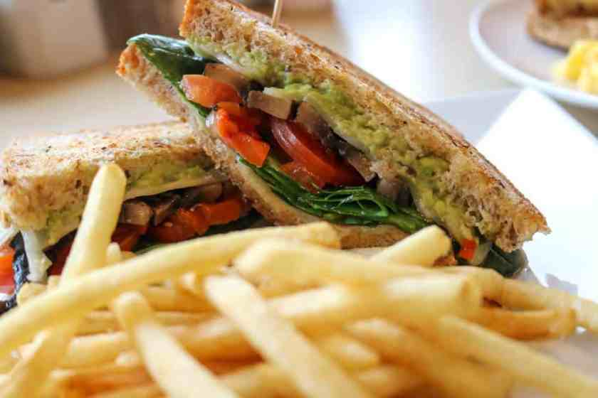 Veggie sandwich with avocado, tomato, mushrooms, and spinach at Third Coast Spice Cafe in Chesterton, Indiana