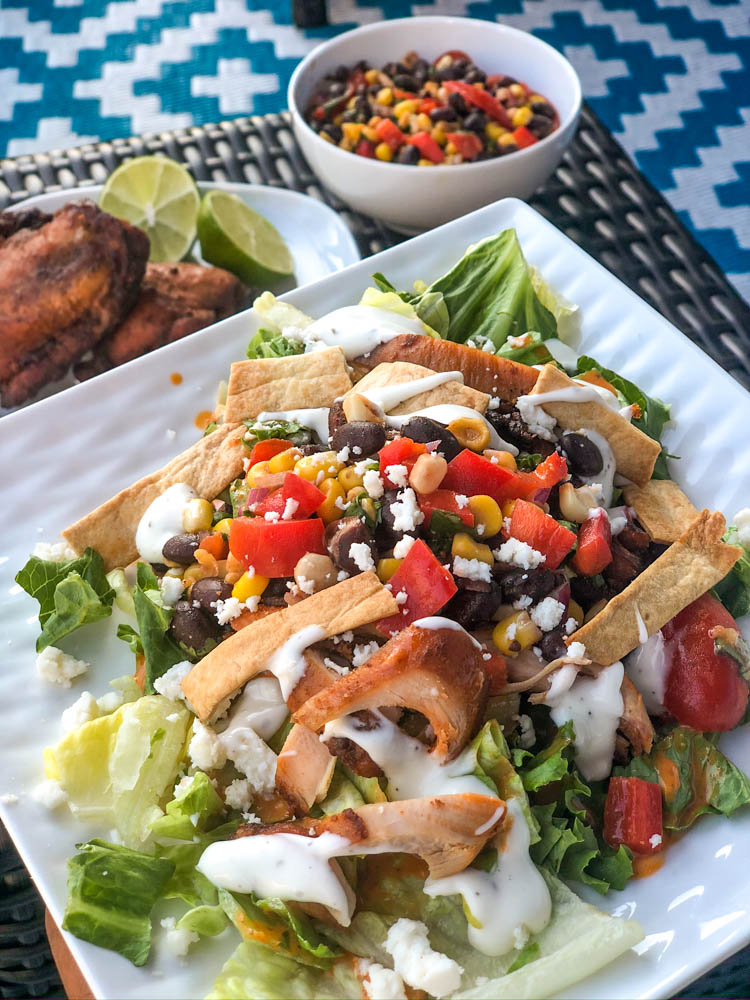 Table setting with Southwestern Chicken Salad