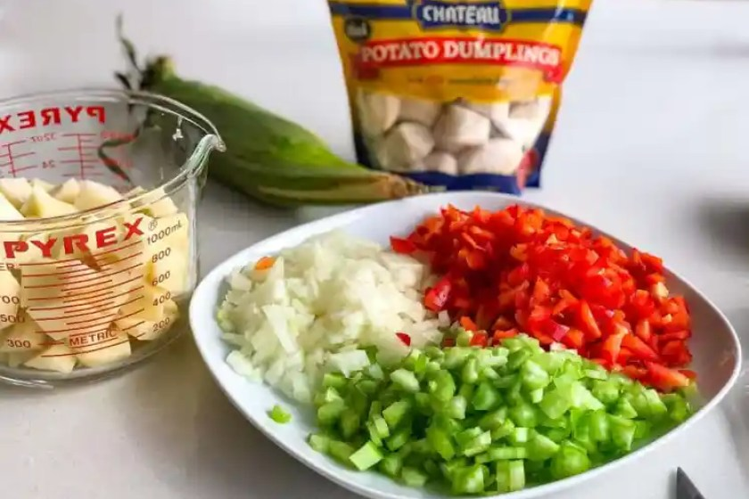 chopped ingredients for corn and potato chowder