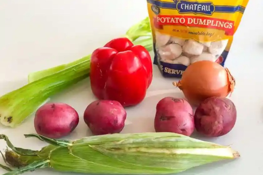 ingredients for corn and potato chowder