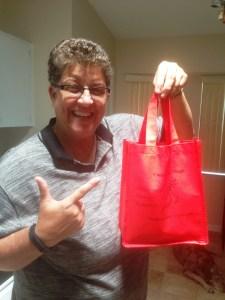 Lori with red bag