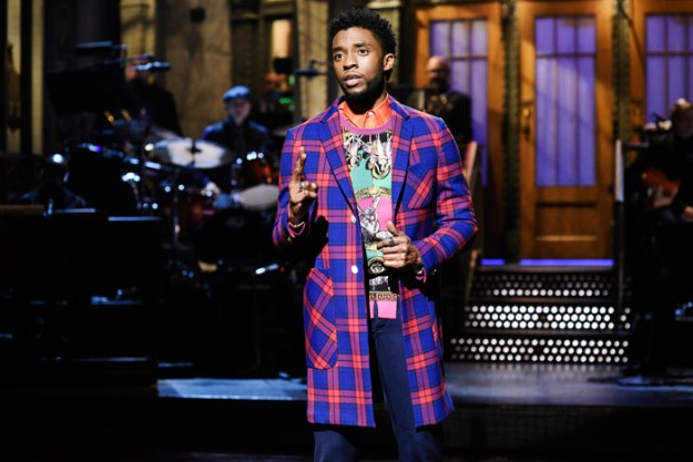 """Black Panther Star Chadwick Boseman Hosts """"Saturday Night Live"""" in Versace – Pics Here!"""