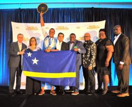 Caribbean Bartender of the Year Jurnick Merced of Curaçao celebrates in Miami