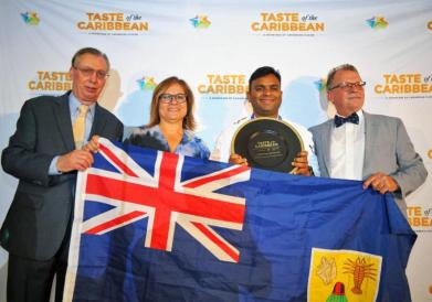 Rajasekar Ravindran of Turks and Caicos Islands was named Caribbean Pastry Chef of the Year. From left is CHTA's Frank Comito and Patricia Affonso-Dass, and judge Augusto Schreiner