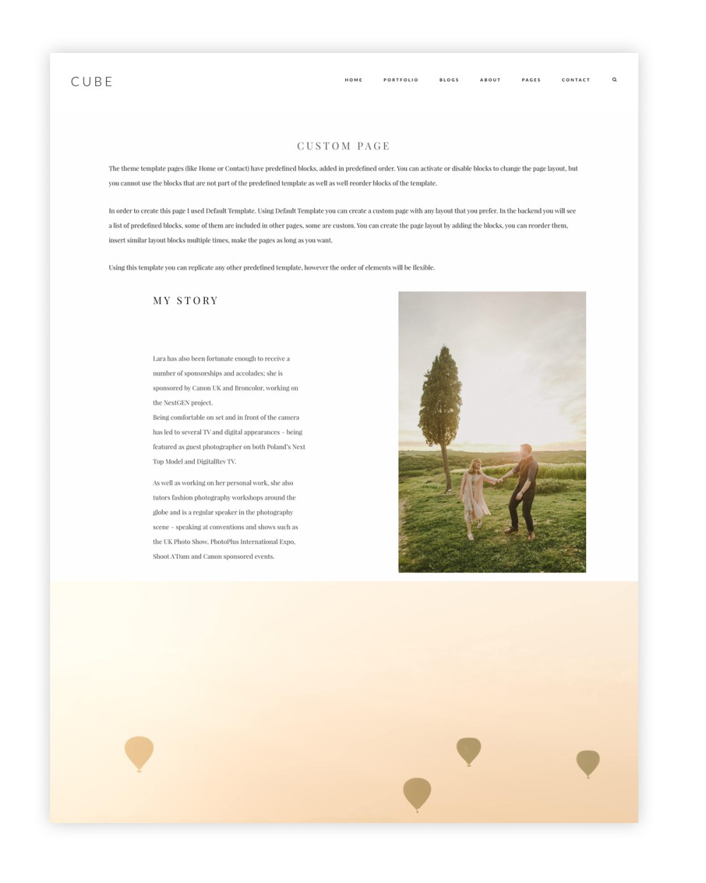 cube-wordpress website theme for photographers and videographers, custom page
