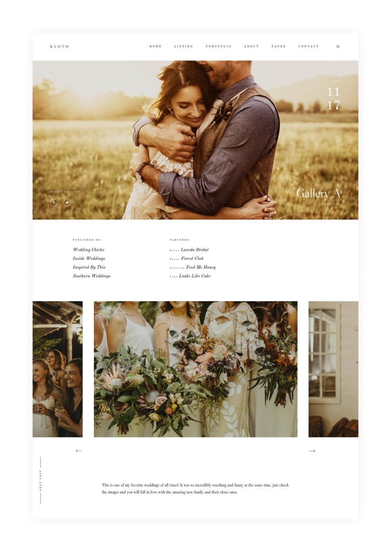 Kyoto photography website theme Portfolio, single gallery layouts