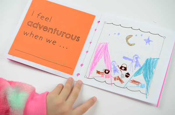 "Mother's Day Book, ""I feel adventurous when..."" page example"