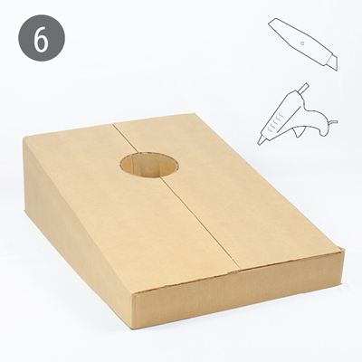 Cardboard cornhole tutorial step 6