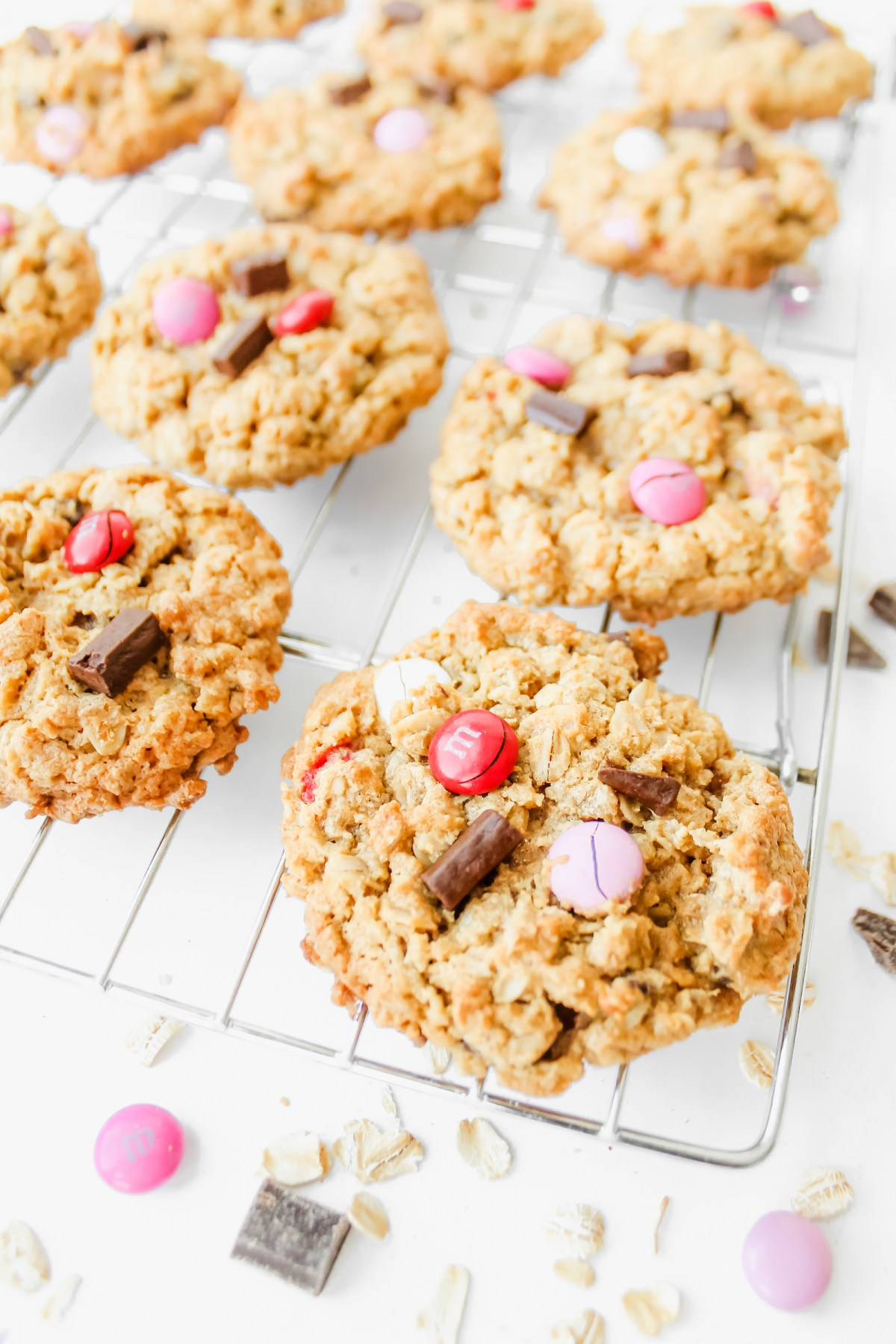 Peanut Butter Oatmeal Cookies with Chocolate Chunks and M&Ms Gluten-Free Flourless Valentines Day Baking