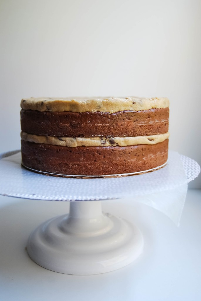 Brownie and chocolate chip cookie dough cake layers - Flour Covered Apron
