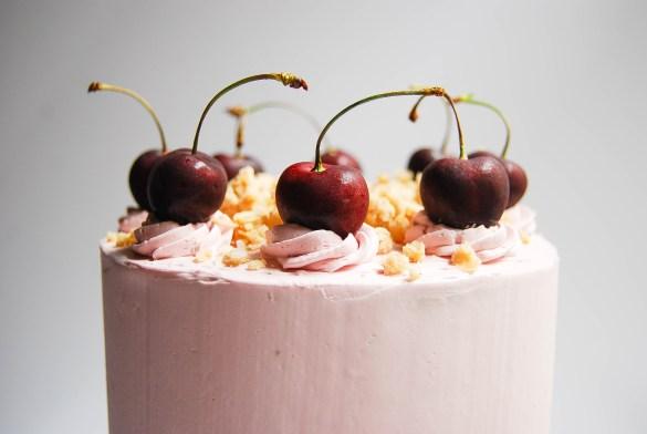 Fresh cherries make the perfect garnish for this cherry crisp layer cake - Flour Covered Apron